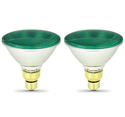 Sterl Lighting - Pack of 2 Par38 Green Floodlight Pool Lighting Halogen Reflector , 70 Watts , 120 Volts , E26 Medium Base , 2700K, 300 Lumens