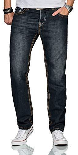 A. Salvarini Matteo Designer Herren Jeans Hose Dicke Zier Nähte Jeanshose Comfort Fit AS-220 [AS-220-Dunkelblau-W38-L30]