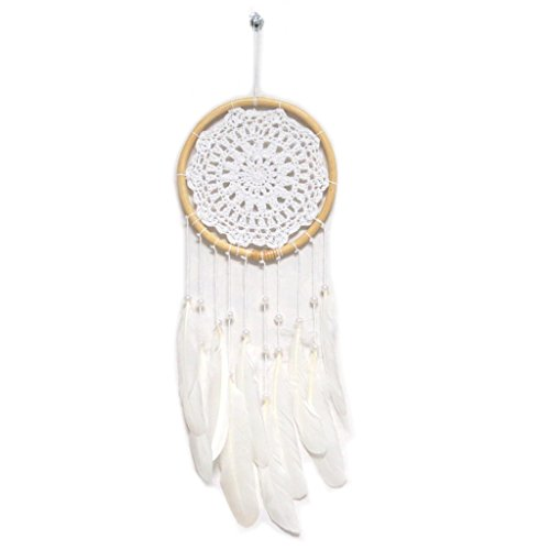 Les Trésors De Lily [P3130 - Attrape-rêves 'Navajos' Blanc Beige - 48x15 cm