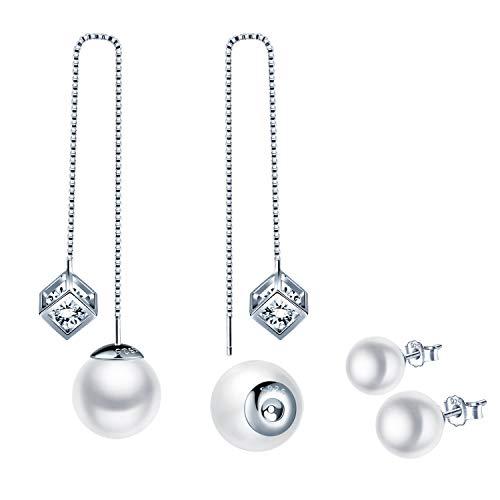 SixLuo 925 Sterling Silber Zirkonia Perle Sterne/Zauberwürfel Durchzieher Damen Lange Quaste Einfädler Ohrringe Ohrhänger DIY Ohrgehänge Ohrschmuck Mehrere Weise zu Tragen Geschenk zum Weihnachten