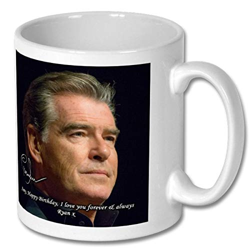 Star Prints UK Pierce Brosnan - 007 - James Bond 1 Large Mug 11cm - High Resolution Image with Personalisation Availible for Any Occasion (with Personalised Message)
