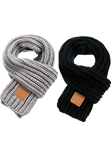 Zhanmai 2 Pieces Kids Winter Warm Knit Scarves Warm Scarf Neck Warmer for Toddlers Boys Girls (Black, Grey)