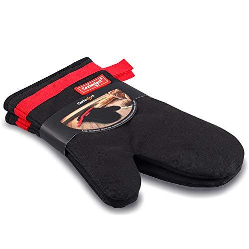 Coziselect Ofenhandschuhe, Hitzebeständige Handschuhe, Silikon Anti-Rutsch Design,Magnetisches Design,Geeignet für Kochen, Backen, Grillen, Schwarz