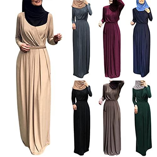 Robe Musulmane Longue Femme Robes de Abaya Plissée Col en V avec Ceinture Broderie Maxi Manches Longues Arab Islamic Jupes Ethnique Robe de Soirée Robe de Mariée Musulmans Robe Partie Vêtements Islam
