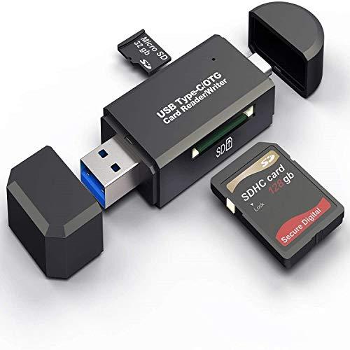 Hoonyer Lecteur de Carte Mémoire, SD/Micro SD Lecteur de Carte et Micro USB OTG à USB 3.0 Adaptateur avec Standard USB Micro USB Connecteur pour PC, Notebook et Smartphone avec Fonction OTG …