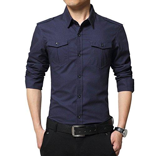 LEOCLOTHO Herren Langarm Hemd Slim Fit Armee-Stil Einfarbig Hemden Shirt Dunkelblau M