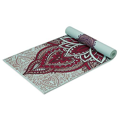 Gaiam Esterilla de yoga con impresión premium, reversible, extra gruesa, antideslizante, para todo tipo de yoga, pilates y ejercicios de suelo, Zara Rogue, 6 mm