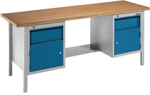 Promat Werkbank BT 495 B2000xT700xH840mm grau/brillantblau Schubladen 2x150mm Tür 2x350mm 1 Boden