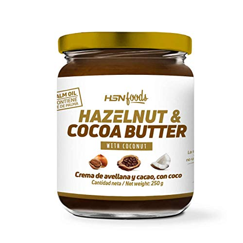 HSN Foods Crema de Avellanas y Cacao con Coco 100% Natural | Apto Vegano - Sin Grasa de Palma - Sin Grasa Trans - Sin azúcar ni Sal añadidos, Sin Gluten ni Lactosa – 250g