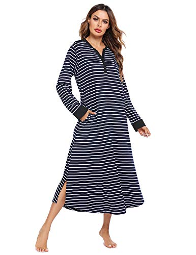 Ekouaer Striped Nightshirt,Long Nightgown Housecoats Loungewear (Black Stripe, Large)