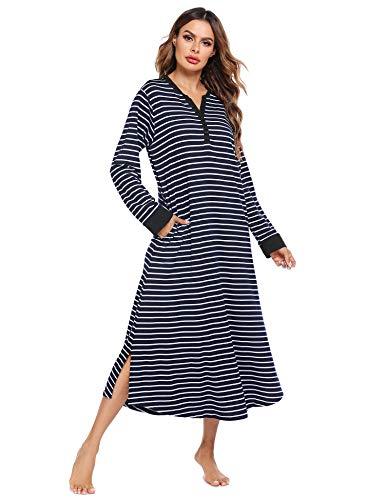Ekouaer Women's Long Nightgown Botton Down Sleep Dress Soft Nightshirt Sleepwear Lounge Dresses