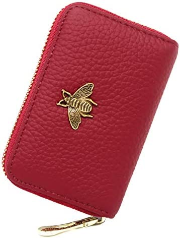 imeetu RFID Credit Card Holder Small Leather Zipper Card Case Wallet for Women Red product image