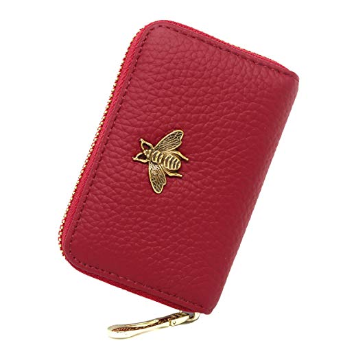imeetu RFID Credit Card Holder, Leather Zipper Card Case Wallet for Women S(Red)