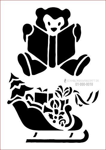 graphits Schablone Weihnachten Schlitten mit Geschenken, Teddybär mit Buch, 01-990-0010 Fensterschablone, Dekoschablone, Größe anpassbar