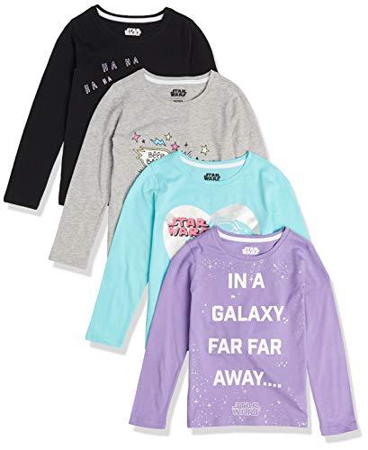 Spotted Zebra Disney Marvel Frozen Princess Long-Sleeve Fashion-t-Shirts, 4er-Pack Star Wars Furball, 11-12 Jahre