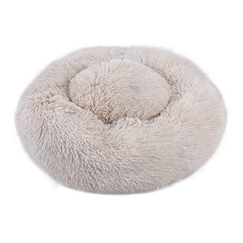 JF-eng Haustierbett, Rund Plüsch Katzenbett Hundekissen, Flauschig Warme Weiche Bequeme Waschbar Doughnut für Katzen Hunde (50CM/Khaki)
