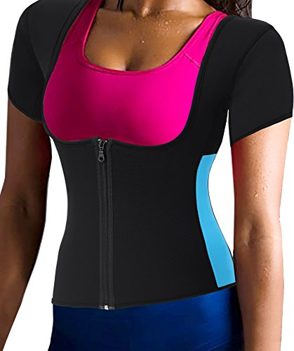 Neoprene Slimming Hot Vest with Sleeves Exercise Top Sauna Sweat for Weight Loss (Medium, Black)