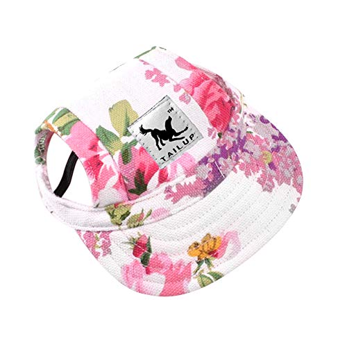 Dog Hat-Pet Baseball Cap/Dogs Sport Hat/Visor Cap with Ear Holes and Chin Strap for Small Dogs (Size S, Flowers) by Happy Hours