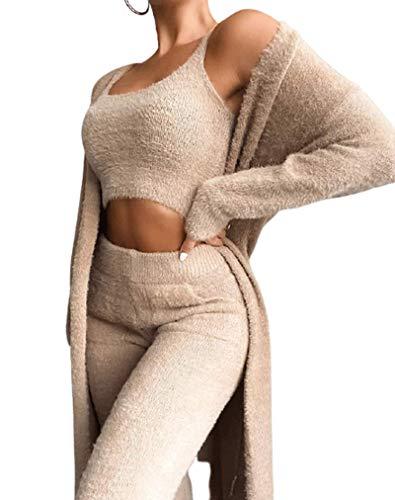 JJZZ Sexy 3 Stück Outfits für Frauen, Pullover Set Sling Top Skinny Lange Hosen Langhülle Maxi Strickjacke Set Overall Plüsch Langarm Hosenanzug,Beige,S