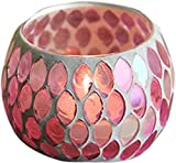 ChezMax Candle Holder Handmade Mosaic Romantic Glass Candlelight Tea Light Holder for Party Dinner Bar Western Restaurant Home Decoration European Style 6 Colors(NO Candles)
