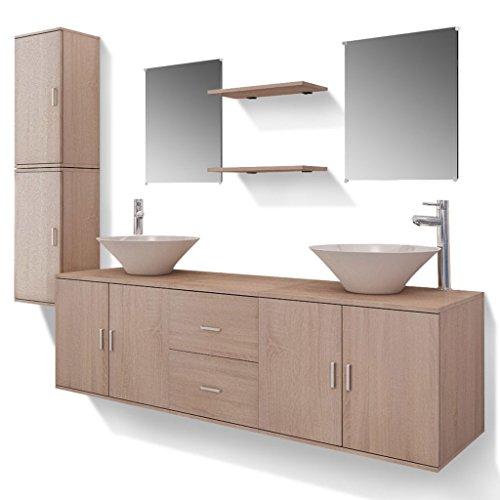 vidaXL Set Muebles para Baño con Lavabo y Grifo Incluido Pack 11 Unidades Beige