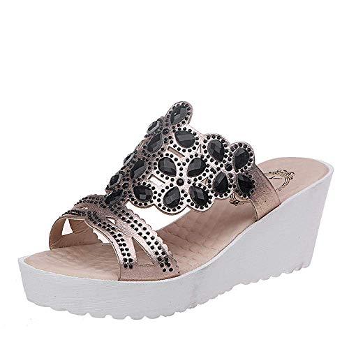 Zapatos for caminar flatforms punta abierta, sandalias de tacón de cuña y zapatillas con diamantes de imitación, de gran tamaño gruesa suela de boca de pescado zapatillas-black_35, resbalón en sandali