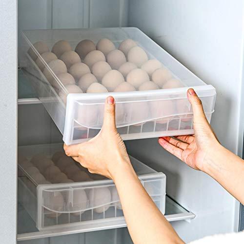 bozitian Caja de almacenamiento de huevos de 30 rejillas con tapa y cajón, caja de almacenamiento de nevera de una sola capa, soporte apilable para almacenar huevos en armarios y nevera