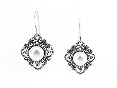 SHABLOOL Pendientes de plata de ley 925 con cabs blancos Fw perlas piedras preciosas nuevo perlas de agua dulce blanco cuelgan plata esterlina Didae mujer hermoso detalle fino regalo adolescente