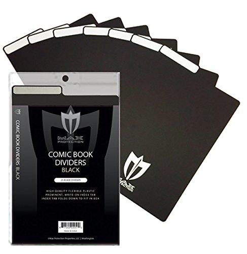 25ct Max Pro Comic Book Dividers - Black - New Design...