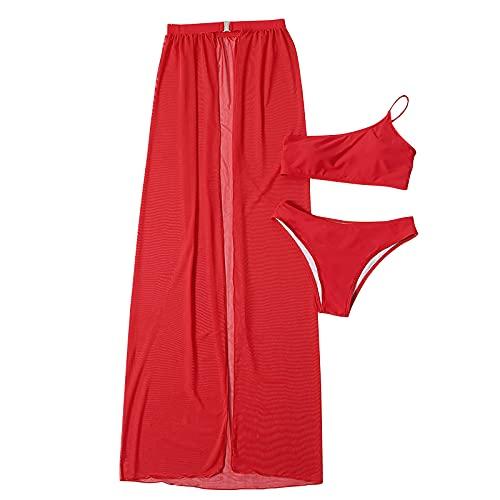 Bilbull Bikini sexy de una pieza para mujer, con efecto push-up, para la playa, para verano rojo S