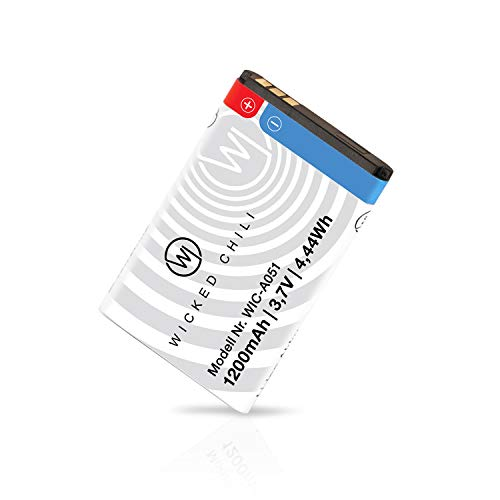Wicked Chili Ersatzakku kompatibel mit TechniSat DIGITRADIO 2, 2S, 1, 1S, Akku Viola 3, Transita 200, 100, RDR, 6IR - Ersatz-Akku für Tragbares DAB+ Radio (Höhere Kapazität 1200mA, BL-5C)
