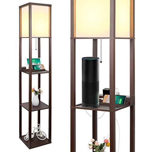 3-in-1 Shelf Floor Lamp with 2 USB Ports and 1 Power Outlet, 3-Tiered LED Shelf Floor Lamp, Modern Standing Light for Bedroom & Living Room, Brown Shelf & Storage & LED Floor Lamp Combination