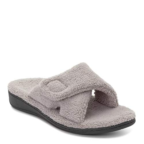 Vionic Women's Indulge Relax Slipper - Ladies Comfortable Cozy Adjustable House Slippers with Concealed Orthotic Arch Support Light Grey 8 Medium US