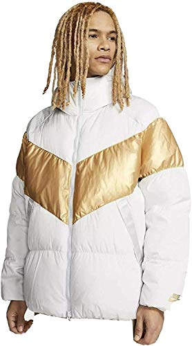 Nike Sportswear Down Fill Puffer Jacket Coat Medium CT0489-043 White/Gold