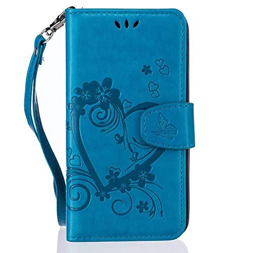 pinlu® Funda para Huawei P8 Lite 2017 Smartphone Flip Billetera Carcasa Delgado PU Cuero Cover Función de Soporte con Ranura Case Amor Corazón Gofrado Azul