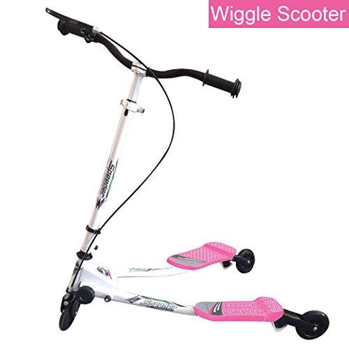 Patinete en forma de Y, 3 ruedas, plegable, propulsada mediante balanceo, para mayores de 5 años, rosa