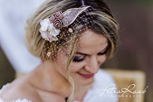M11 Braut Kopfschmuck Fascinator Hochzeit Schleier Blüte Haarschmuck beige Blumenkranz Boho Hochzeit Deko Etno Style