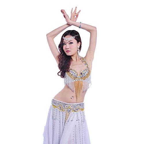 MEIGUI Traje De Baile De Las Lentejuelas De Las Mujeres Sujetador Fringe Sujetador, Rhinestone Cinturn De Cintura Rendimiento Disfraz De Baile A-S