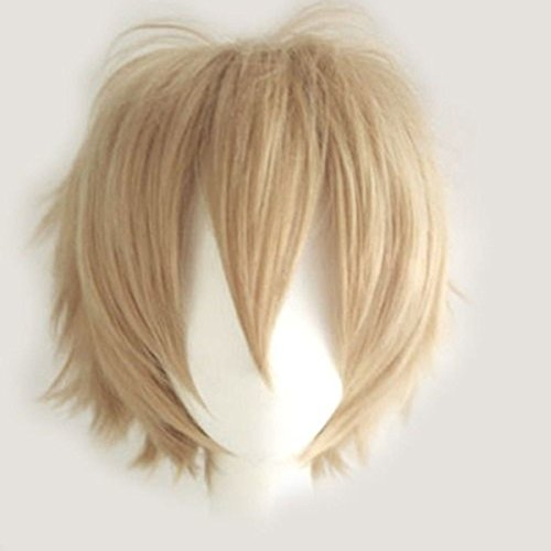 S-noilite Women Mens Male Short Fluffy Straight Hair Wigs Anime Cosplay Party Dress Halloween Costume Wig Linen Blonde)