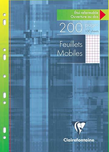 Clairefontaine 17522C - Un étui carton 200 pages Feuillets mobiles perforés 21x29,7 cm 90g petits carreaux avec marge