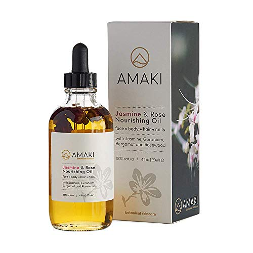 Amaki Organic Essential Oil for Face, Body, Lip, Hair Nails - Blend of Rosehip, Jojoba, Sweet Almond, Primrose, Argan, Jasmine - Effective Facial Moisturizer Serum - Reduces Wrinkles, Acne Scar