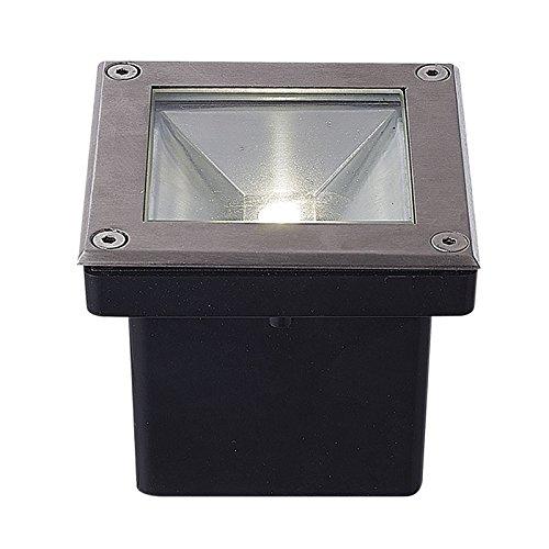 Vision-EL 770621 Spot LED Encastrable Sol Carré Inox 5W 4000°K, Acier/Verre et Plastique, 5 W, Gris, (L x I x H)-104 x 104 x 87 mm