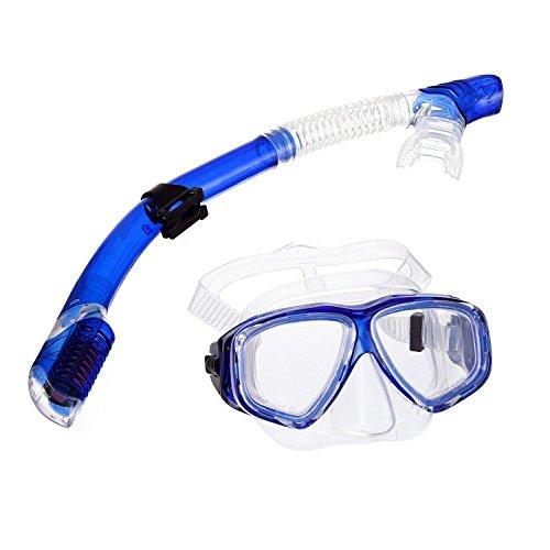 tmei completamente asciutto immersioni maschera Snorkel attrezzature snorkeling gear Easy breath Dive Set con cinghia regolabile, vetro temperato resistente agli urti e impermeabile lenti Best Vision