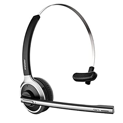 Mpow Truck Driver Bluetooth Headset, Hands Free Phone Headset with Noise Cancelling Microphone, Comfort-fit for Long Haul, On-the-Ear Skype Office Headsets for Clear Calls from Mpow
