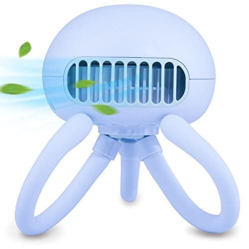 Stroller Fan Mini Handheld Fan Portable Bladeless Fan with Flexible Tripod Clip on Stroller Fan 3 Speeds Rechargeable Battery Operated Fan for Baby Stroller, Bike, Car Seat, Crib and Desktop (Blue)
