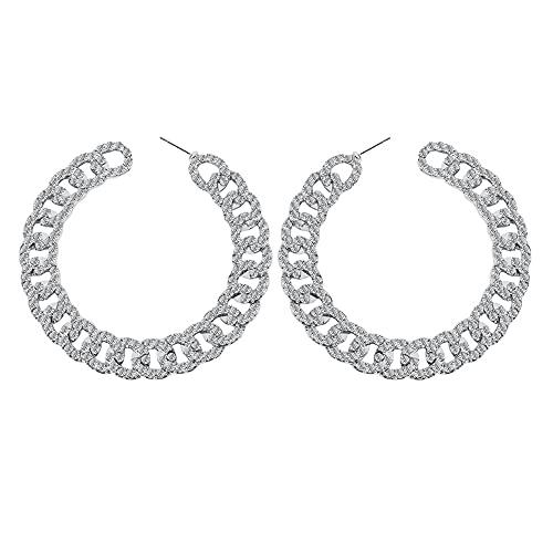 Pendientes de aro grandes con diamantes de imitación de cristal, de oro, bohemio, envueltos en chispa, grandes aros, pendientes de aro punk, redondos, para mujeres y niñas, regalos de