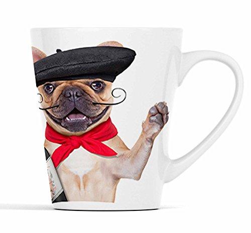 Französische Bulldogge als Franzose mit Wein und Baguette|Latte Macchiato Becher Kaffeebecher mit Fotodruck |006