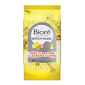 Bioré Witch Hazel Wipes Pore Clarifying Cleansing Cloths with Norinse Dirt and Oil Removal for Acne Prone Skin 30 Count