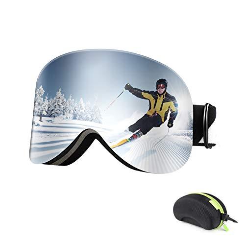 Bfull Occhiali da Sci Magnetica per Uomo Donna, OTG Maschera da Sci, Antiappannamento e Protezione 100% UV400, Compatibile con Casco e Occhiali da Sci Antiriflesso per Snowboard