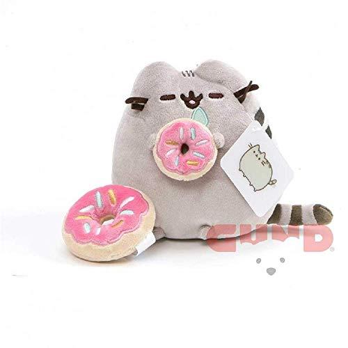 GUND Pusheen with Donut & Bonus Donut Clip Plush Stuffed Animal Cat, Grey, 6'